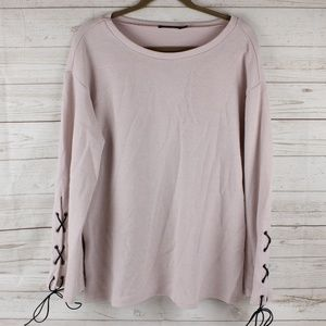 Doe & Rae Large Pale Pink Lace Up Sleeve Tunic Top
